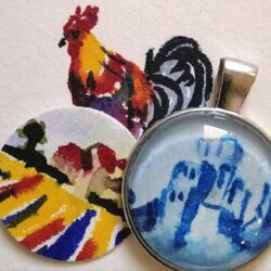 Handpainted pendants & earrings